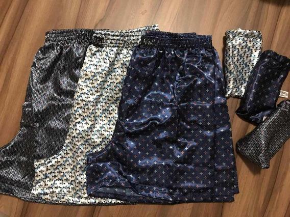 Kit 3 Samba Canção Cetim Seda Pijama Shorts