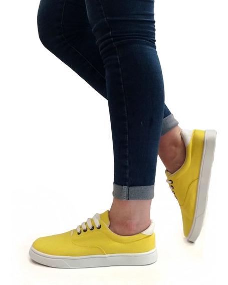 Zapatillas Mujer Urbanas Náuticas Panchas Lona - Art. Bali