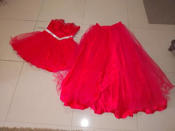 Vestido De 15 Años Rojo De Dos Piezas