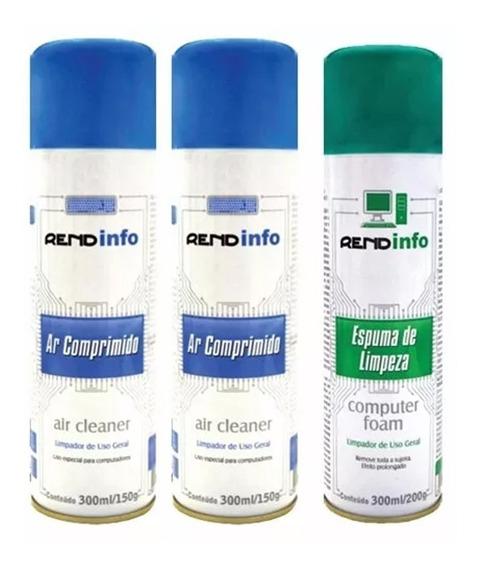 2 Ar Comprimido Spray + 1 Espuma Limpeza Antiestática 300ml