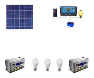 Kit De Iluminação Painel Solar 55w + Bateria +3 Lampadas 12v