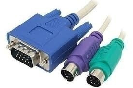 Cabo Chaveador Kvm Switch Pc Teclado Mouse Video Ps/2 -3em1
