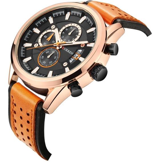 Relógio Masculino Barato Original Top Curren Importado Couro