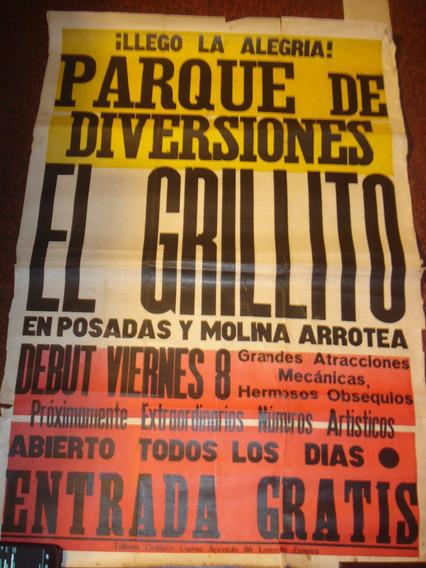 Antiguos Afiches De Calle En Papel Parque De Diversiones