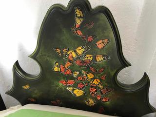 Base De Cama Individual Cajonera Mariposas Pintada A Mano