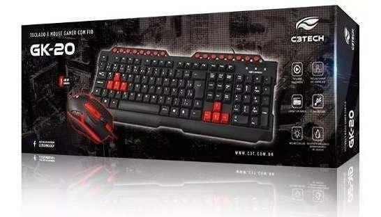 Kit De Teclado E Mouse Gamer Gk-20 Preto E Vermelho Com Fio