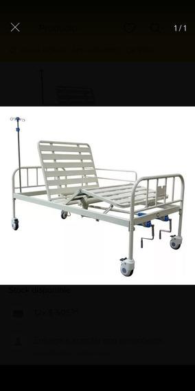 Cama Hospital Con Barandales,colchon,porta Suero Y Ruedas