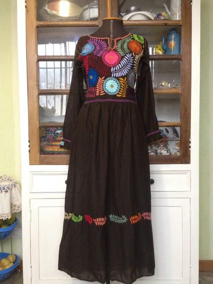 Vestido Mexicano Longo Bordado A Mão Manga Longa Feminino
