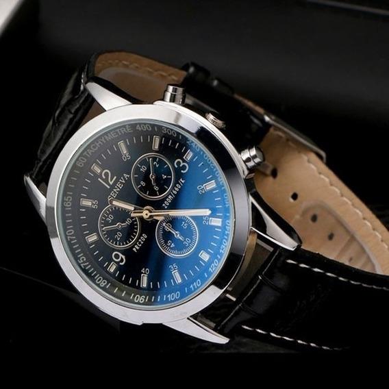 Relógio De Quartzo Analógico Preto Com Pulseira De Couro