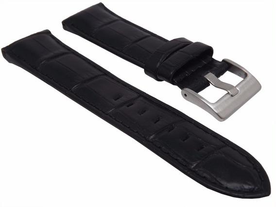 Pulseira Couro Preta Tipo Croco 26mm Luxo Feita A Mão