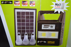 Kit Painel Placa Solar Com Bateria+3 Lampadas Led+fm+mp3