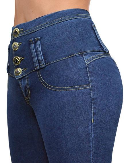 Jeans Levanta Cola Calce Perfecto Chupin Con Bolsillos