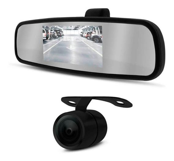 Kit Câmera De Ré Estacionamento Espelho Retrovisor Tela Lcd