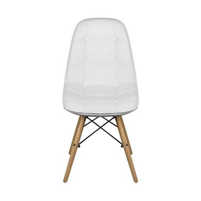 Cadeira Eames Eiffel Botonê Branca Pés Madeira Fortt Ft132