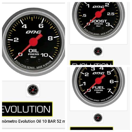 Imagem 1 de 4 de Manometro Turbo2kg+oleo 7+combustível 10odg Evolution 52mm