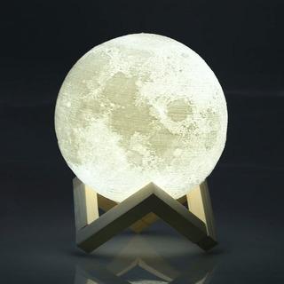 Moonlight Luna 3d Lampara Con Luz Led Y Dimmer 2 Colores 8cm