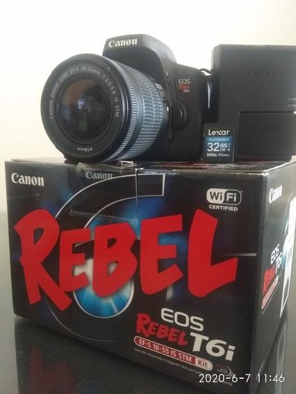 Oportunidade! Vendo Câmera Fotográfica Canon T6i Com Wi-fi