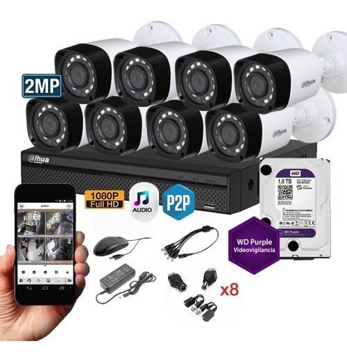 Kit Seguridad Dahua Dvr 16 + 8 Camaras Exterior 2mp + 1tb