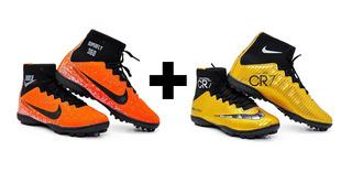 Kit 2 Pares Chuteira Nike Cano Longo Society Botinha+meião.
