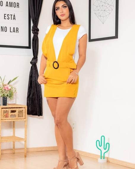Vestido Macaquinho Salopete Feminino Com Cinto Lançamento