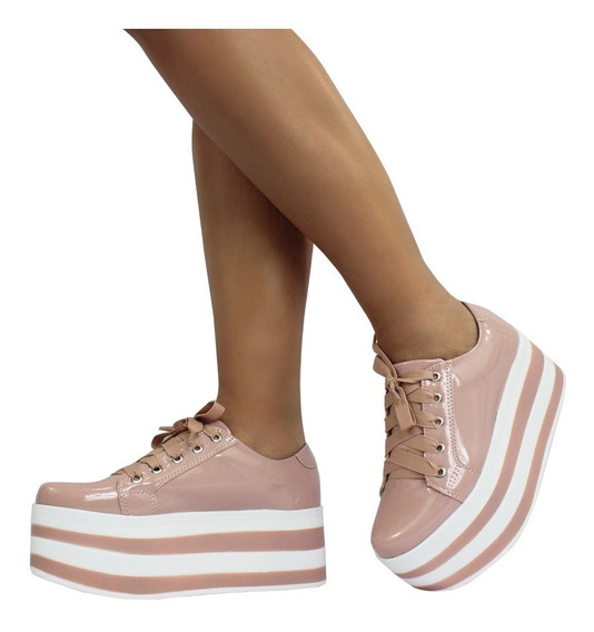 Tenis Feminino Flatform Sola Alta Casual Candy Missy 12x