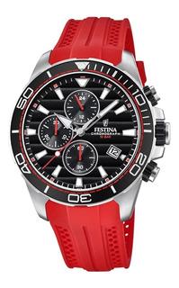 Reloj Festina Crono Con Malla Caucho Sumergible F20370