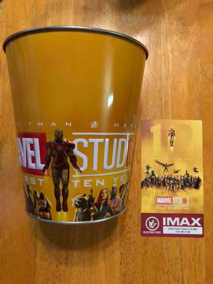 Marvel Studios 10 Años Avengers Tina Metálica Boleto Imax