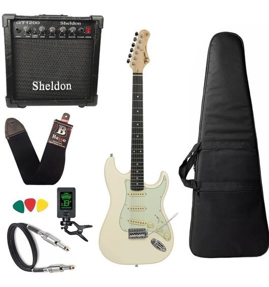 Guitarra Tagima Tg500 Branco Caixa Amplificador Sheldon