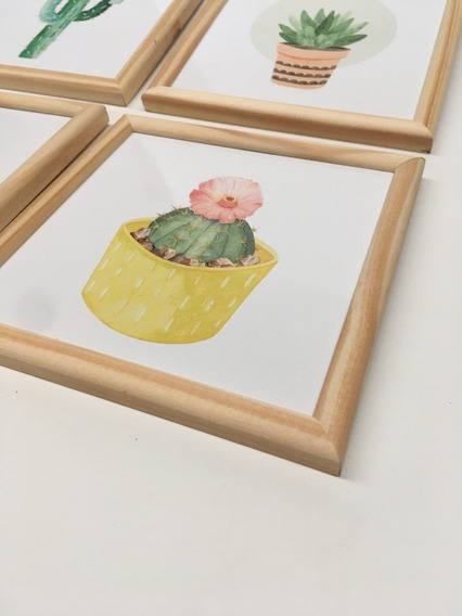 Cuadros Cactus Set X4 Marco De Madera Con Vidrio