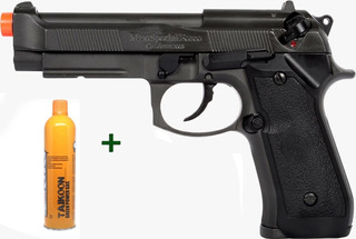 Pistola Airsoft Gbb Hfc Pt92 Beretta Blowback + Maleta + Gas