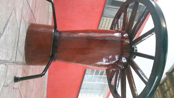Mesa Rustica Roda De Carroça Com Tampo De Vidro