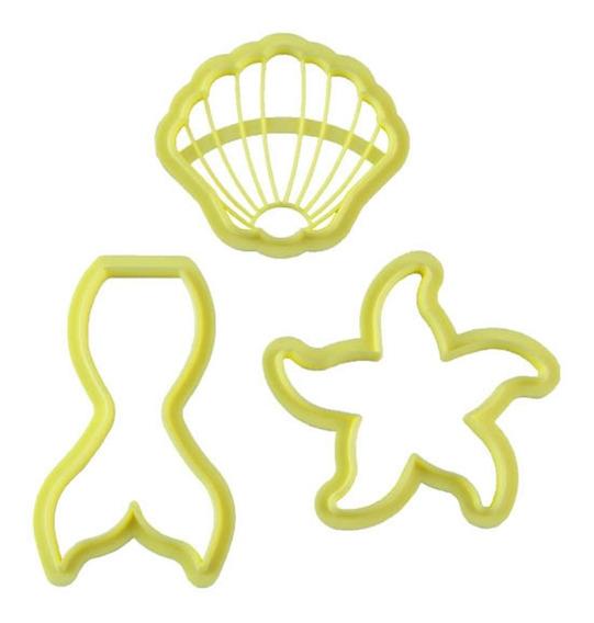 Cortador Kit Sereia Biscoito Biscuit Com 3 Peças Blue Star