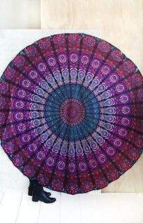 Jaipur Tapiz De Playa Redondo Tapiz De Playa Hippie / Boho M
