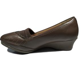 Sapato Anabela Super Confortável Dmoon Marrom