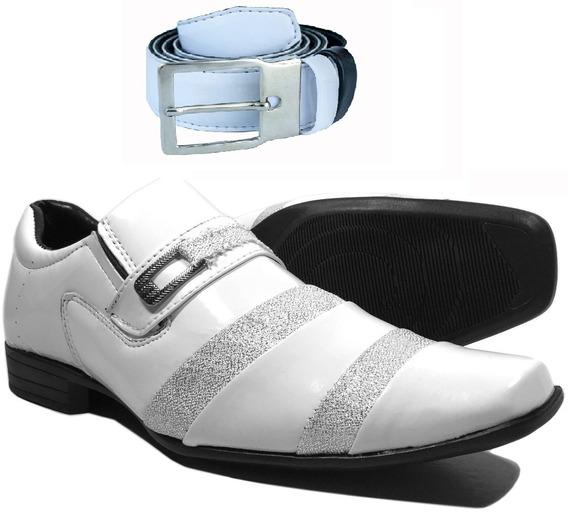 Sapato Social Masculino Branco Brilhoso Casamento Com Cinto