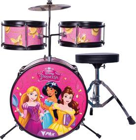 Bateria Disney Infantil Princesas Gold Rosa 3 Peças C/ Nf