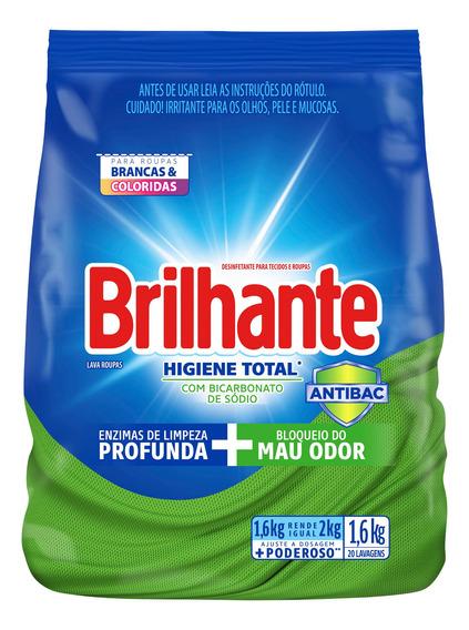 Lava Roupas Sanitizante Em Pó Brilhante Higiene Total 1.6kg