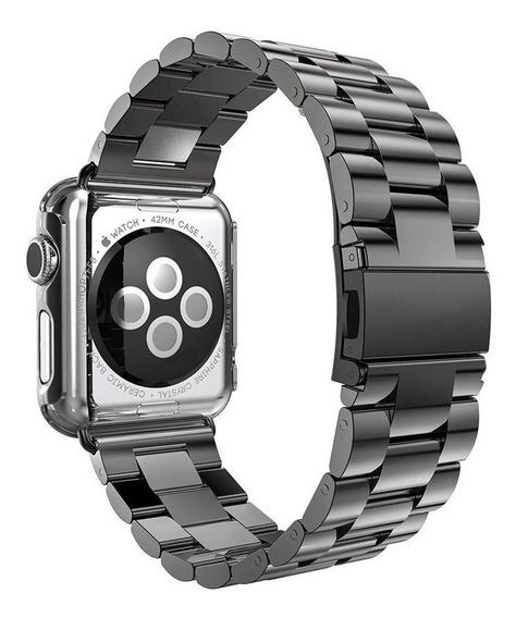 Pulseira Preta Aço Inox Para Relógio Apple Watch 42mm