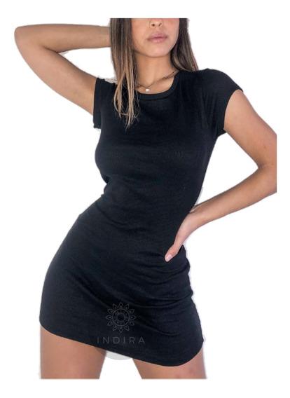 Vestido Corto Mujer Con Mangas Liso