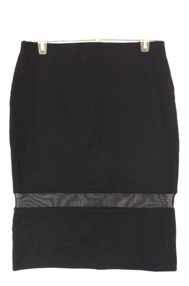 Falda Zara L Negro Panel De Tul Nueva #185