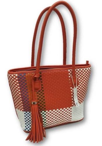 Imagen 1 de 5 de Bolso De Dama Tejido Tipo Textil Naranja Ab4c70