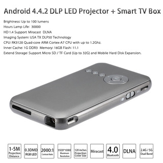 M6 Android 4.4.2 Dlp Led Projector + Inteligente Tv Caja 1g