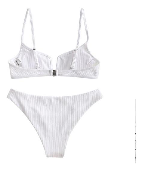 Zaful- Conjunto De Bikini Acanalado Con Corte En V- S