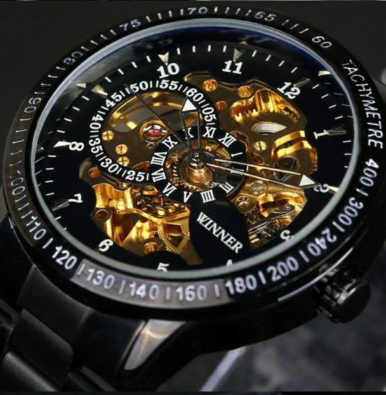Relógio Luxo Winner Skeleto Preto Automático Promoção