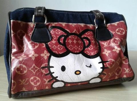 Cartera Hello Kitty De Jean Y Bipiel Hermoso Diseño Nueva