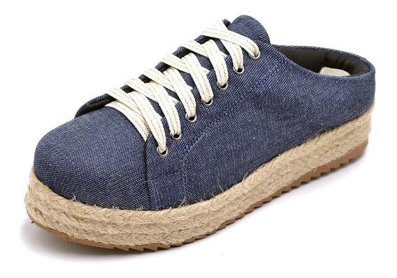Tênis Feminino Mule Babuche Jeans Flatform Corda Cadarço