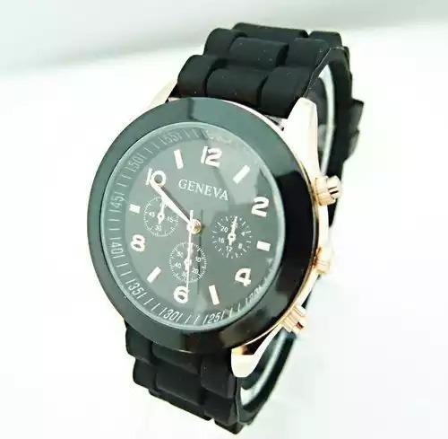 Relógio Geneva Preto Pulseira De Silicone - Pronta Entrega