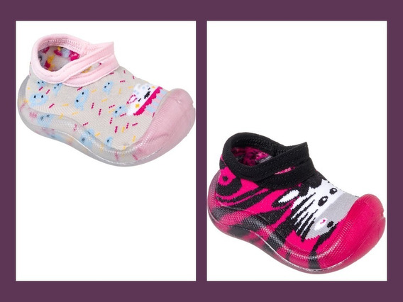 Kit 2 Pares Meia Sapatilha Com Sola Antiderrapante Infantil Menina Cano Baixo Rosa E Pink