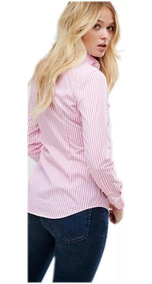 Camisa Rosa Mujer Rayada Elastizada Excelente Calidad