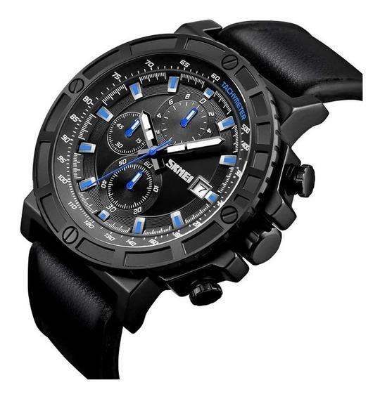 Relógio Masculino Cronógrafos Funcionais Esportivo Couro